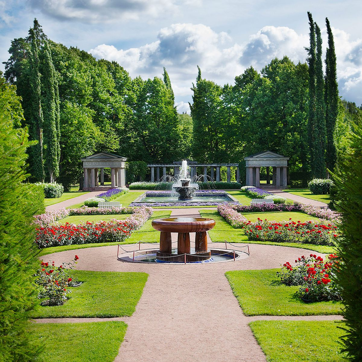 The lush green gardens at Kultaranta, the President's summer residence.